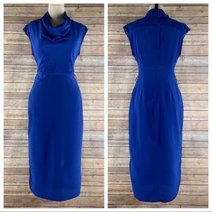 Ted Baker Silk Blue Sleeveless Cowl Neck Dress